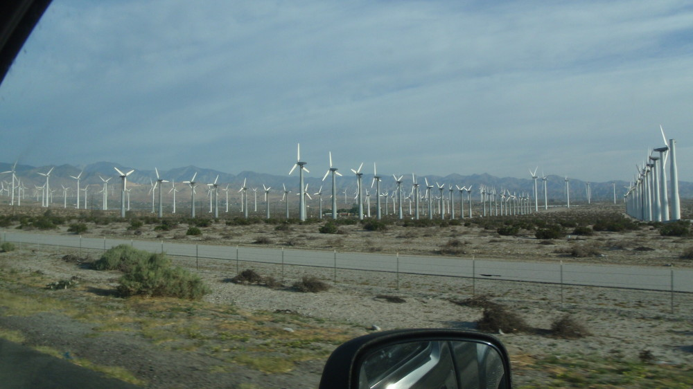 Wind farm near Palm Desert - they were all spinning and my diesel was working pulling into the wind.....
