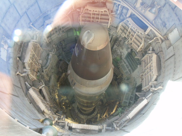 Looking down into the silo from above.  De-armament treaty requires this be visible from satellite to confirm no efforts to re-activate.