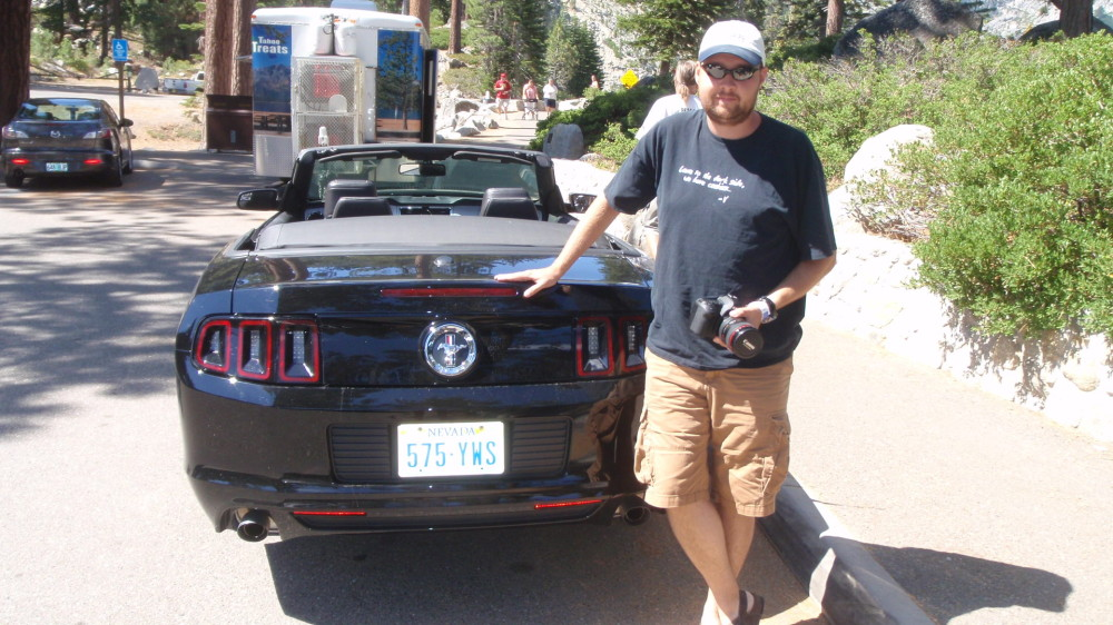 Brian with the Mustang he rented while we were in Reno........zoom, zoom....