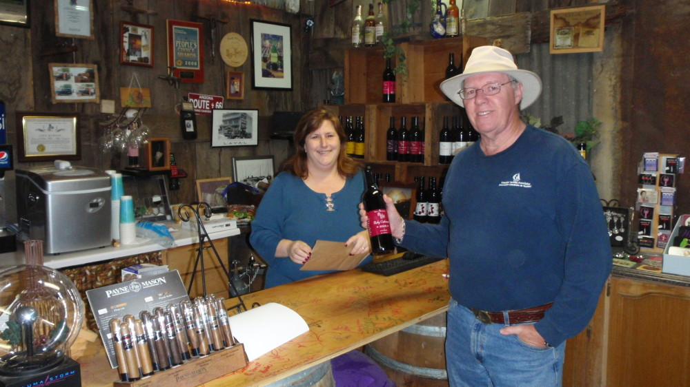 Debbie tells us the winery history and sells me a bottle of wine.